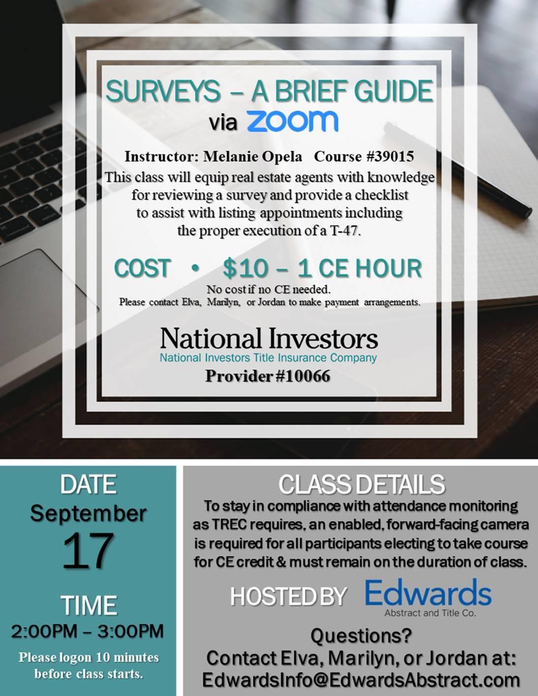 1 Hour CE Credit via ZOOM – Surveys