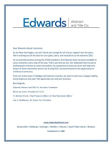 To Edwards Valued Customers