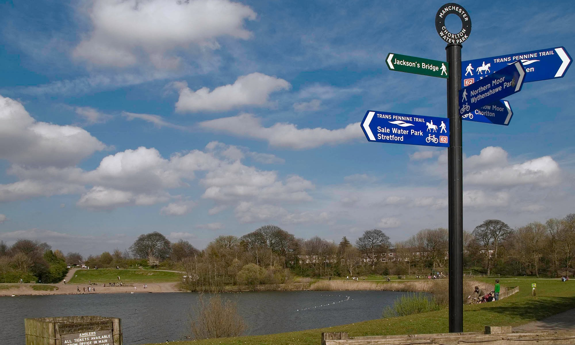 Chorlton Water Park with Sign Post