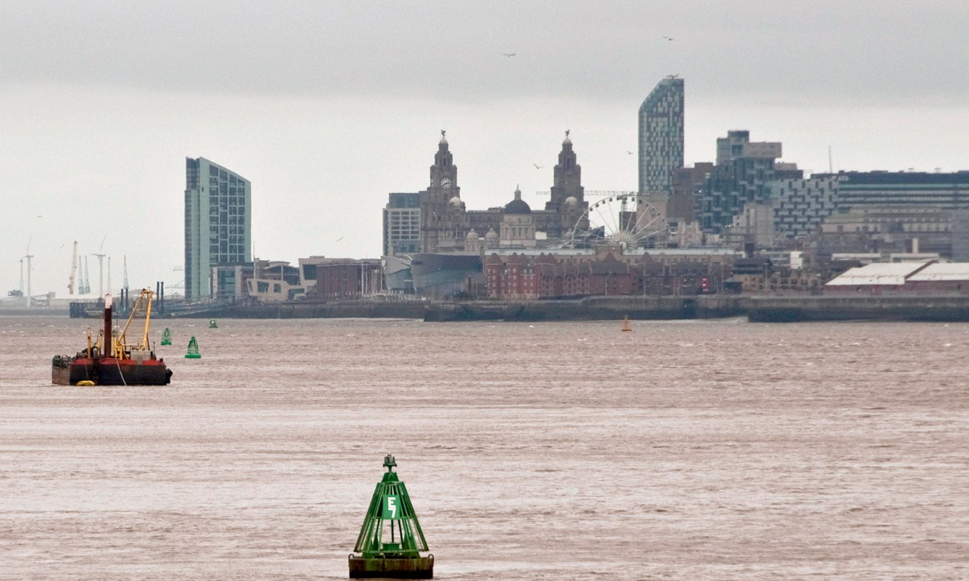 Liverpool and River Mersey from Eastham