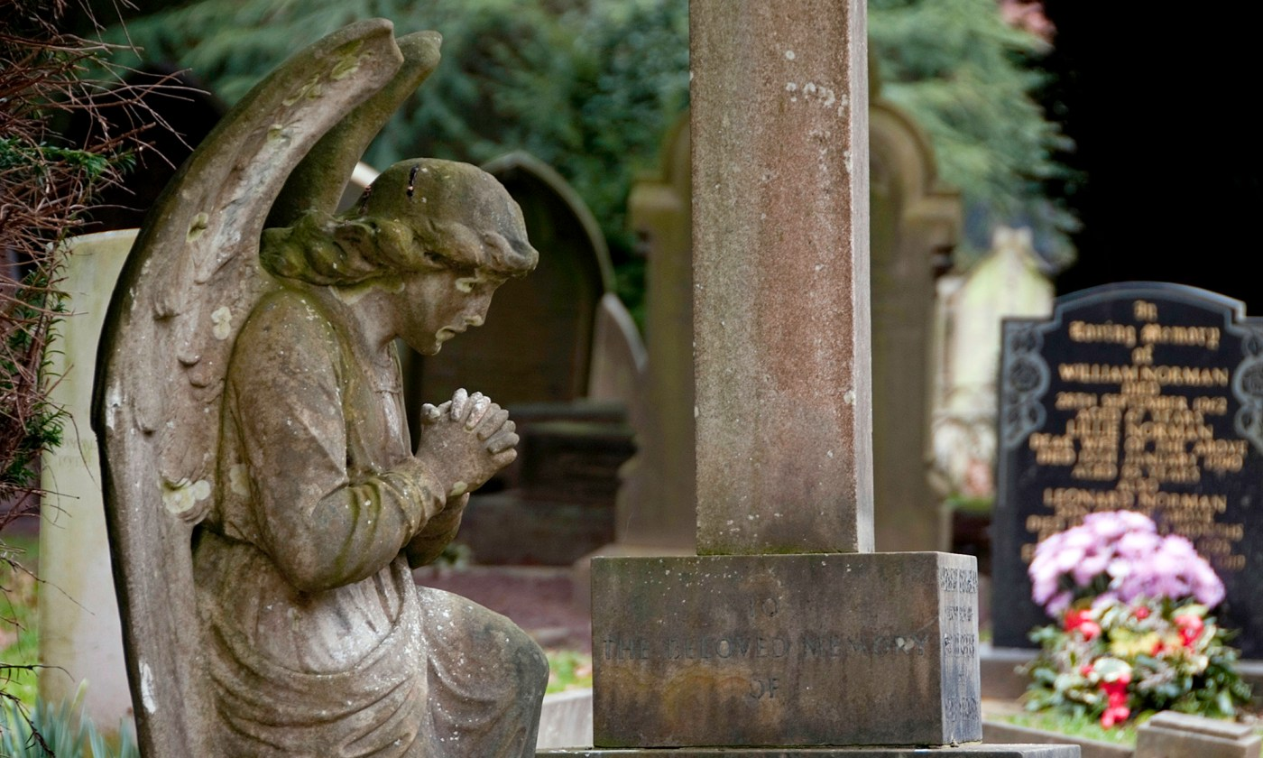 Praying Angel Statue at St. Mary's Church, Eastham