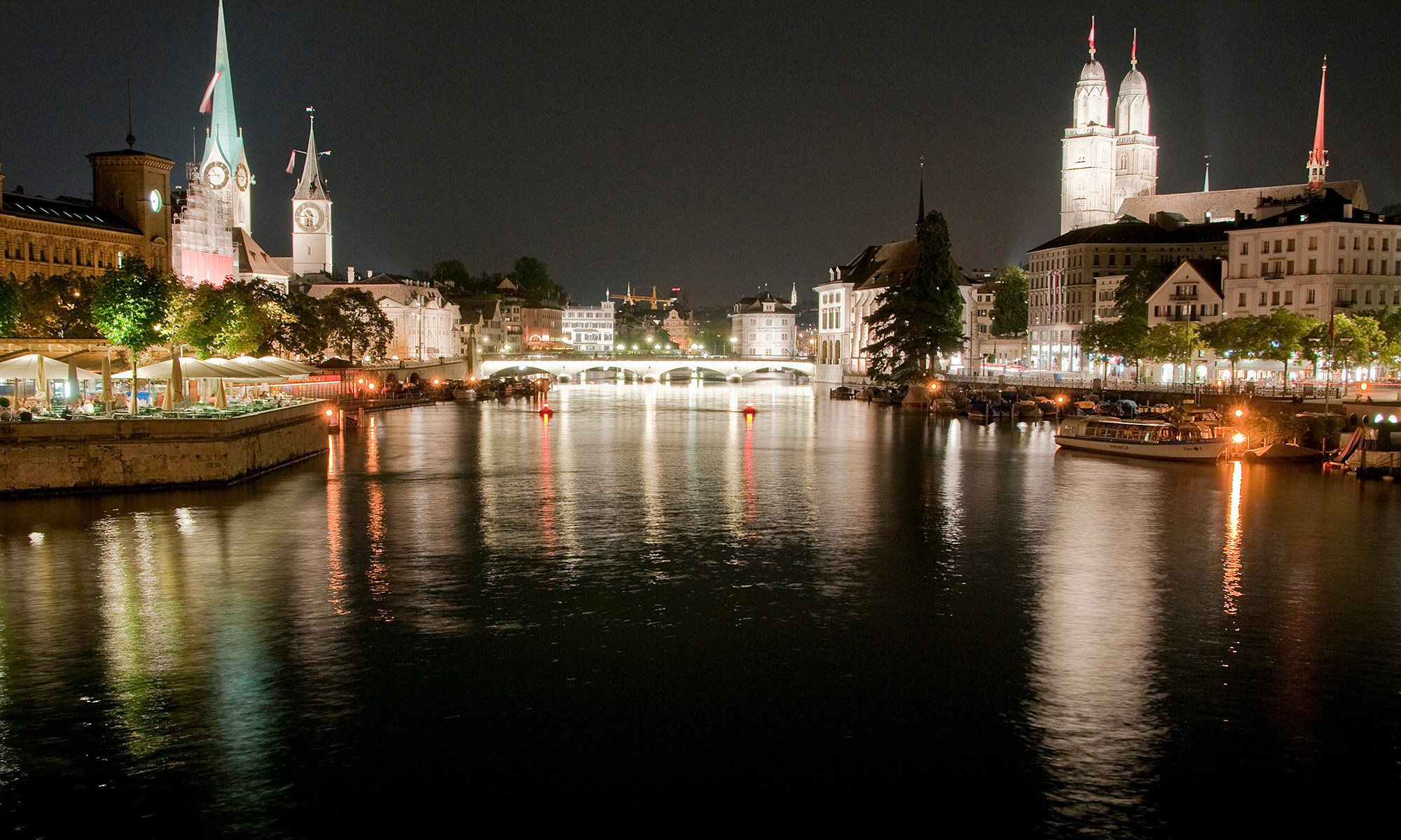 Limmat River at Night, Zurich, Switzerland