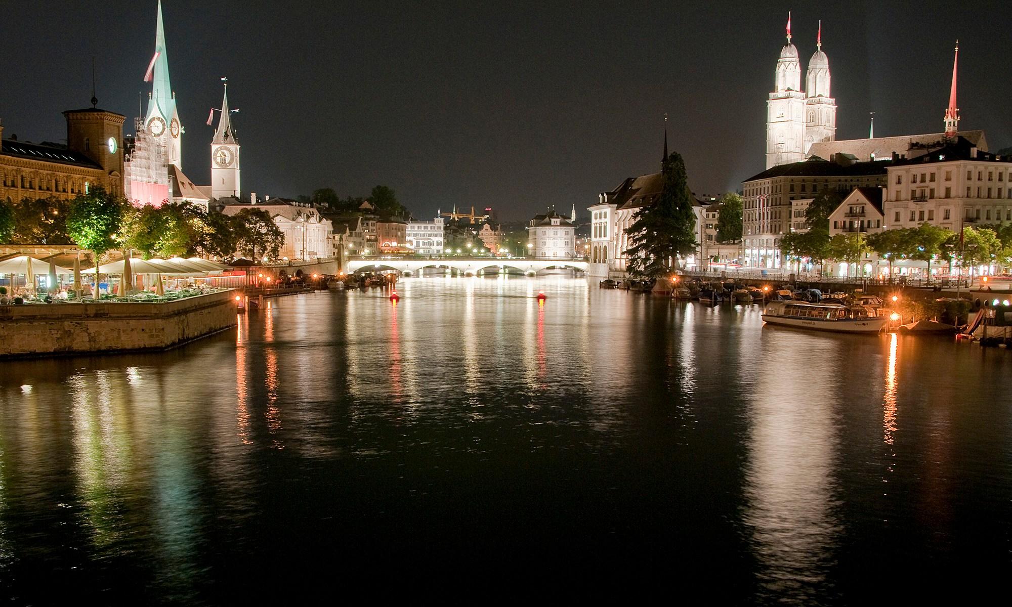 Limmat River at Night, Zurich, Switzerland