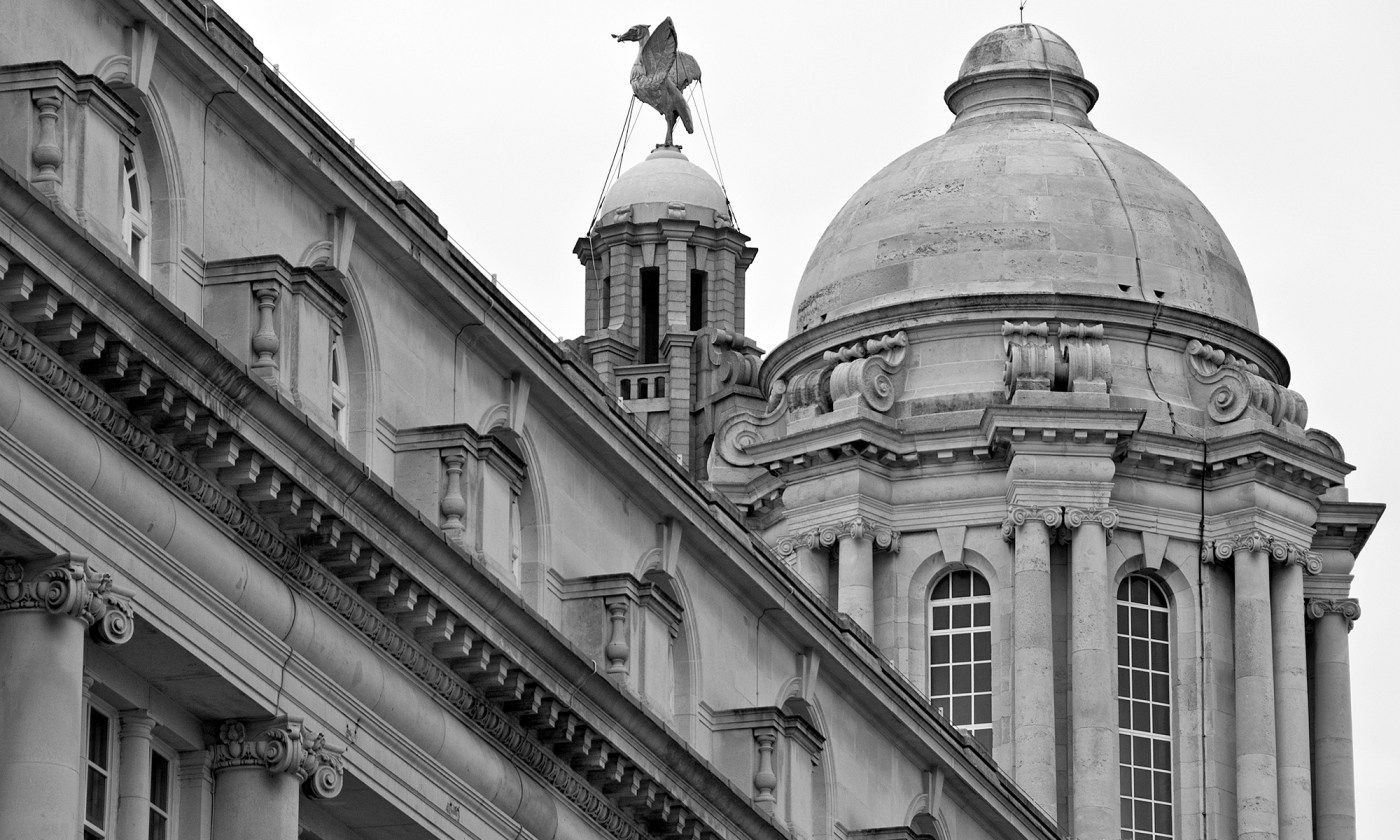 Royal Liver Building detail in Mono