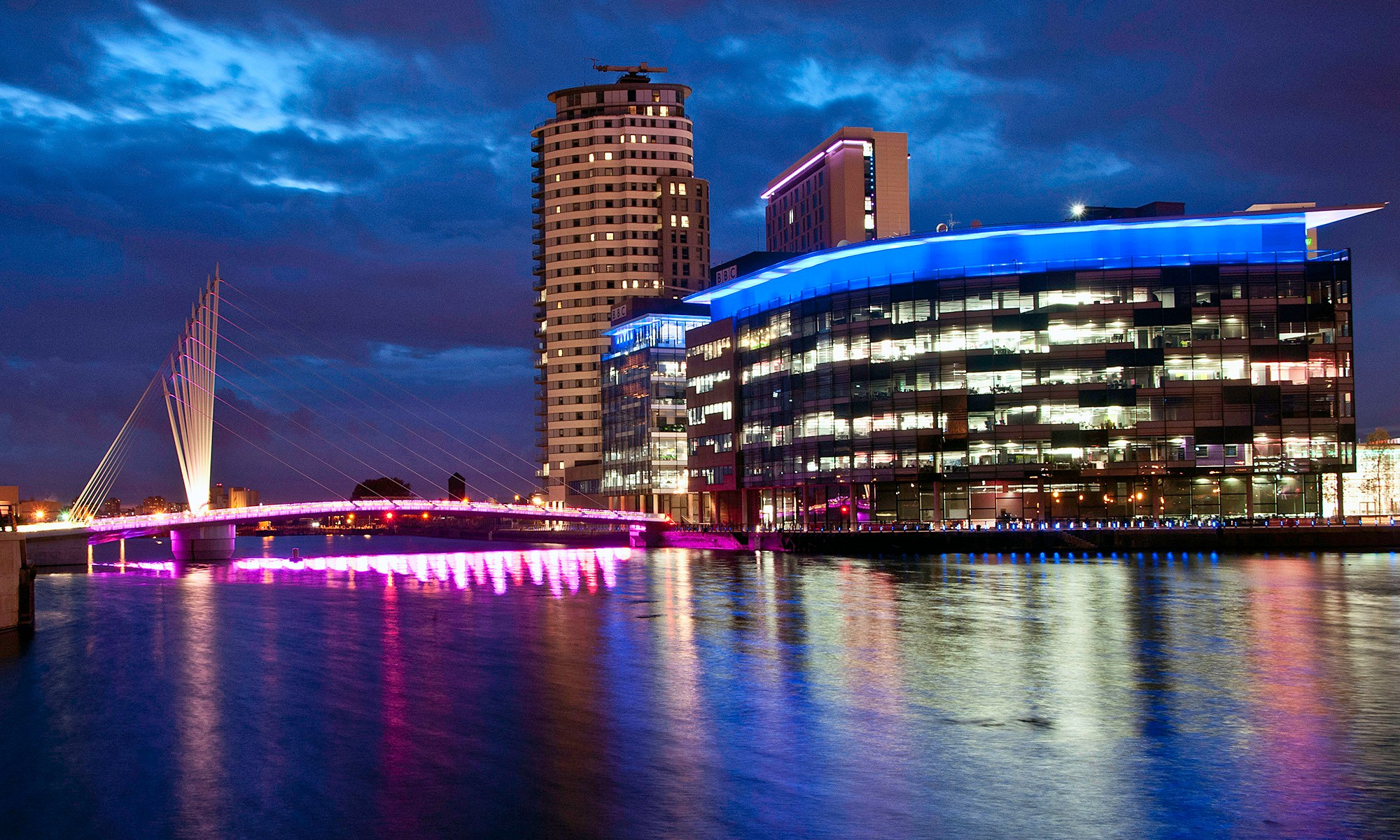 MediaCityUK Footbridge at Night