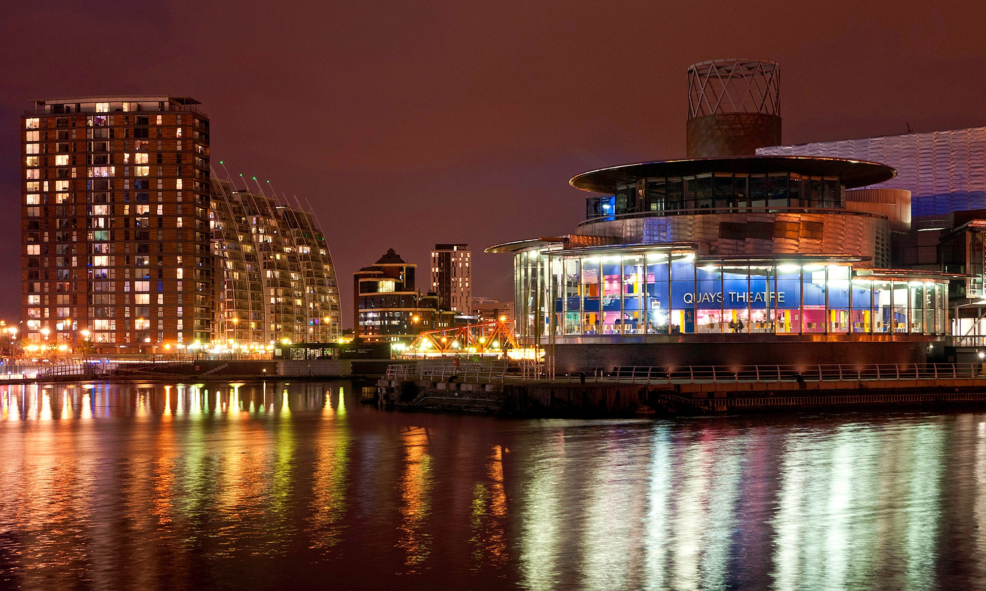 Quays Theatre at Night