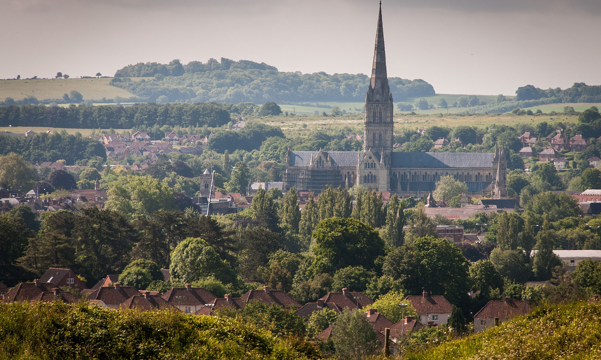 Salisbury Cathedral from Old Sarum Hill