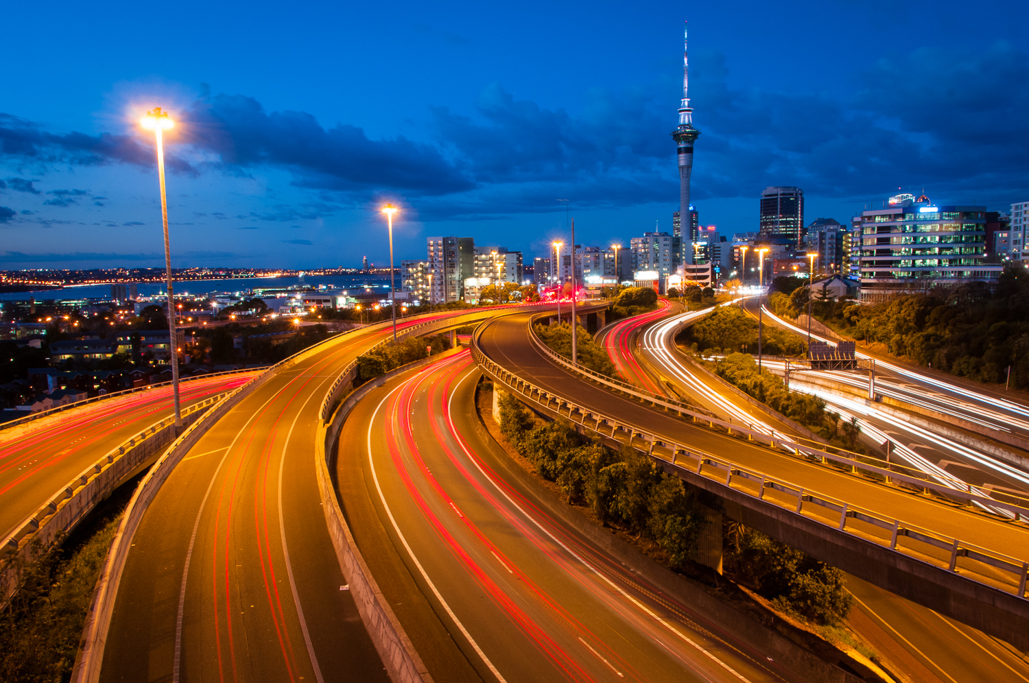 Light trails in Auckland