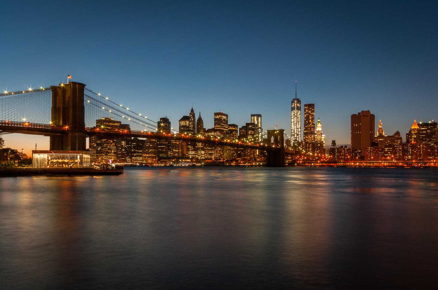 Brooklyn Bridge and New York Skyline