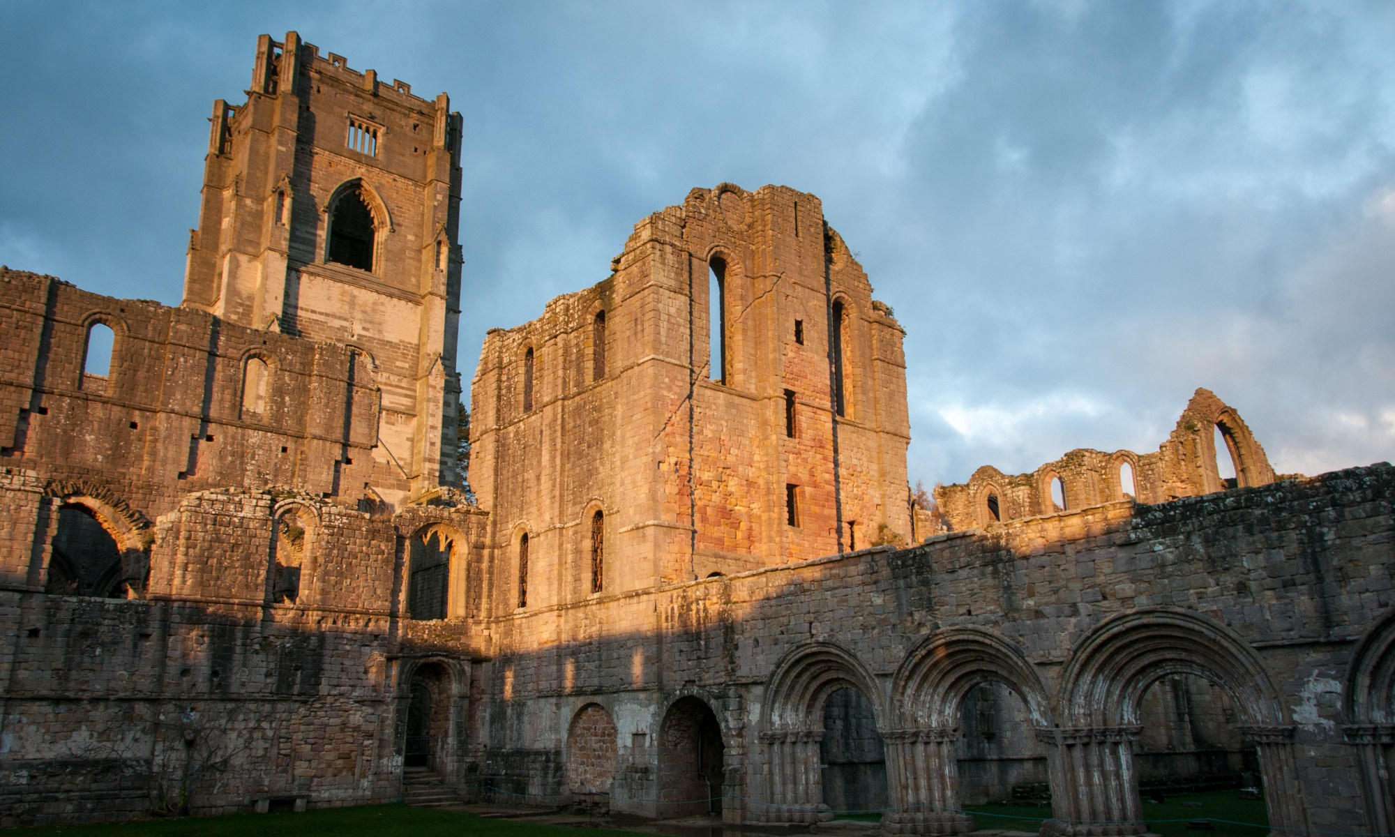Fountains Abbey in afternoon light