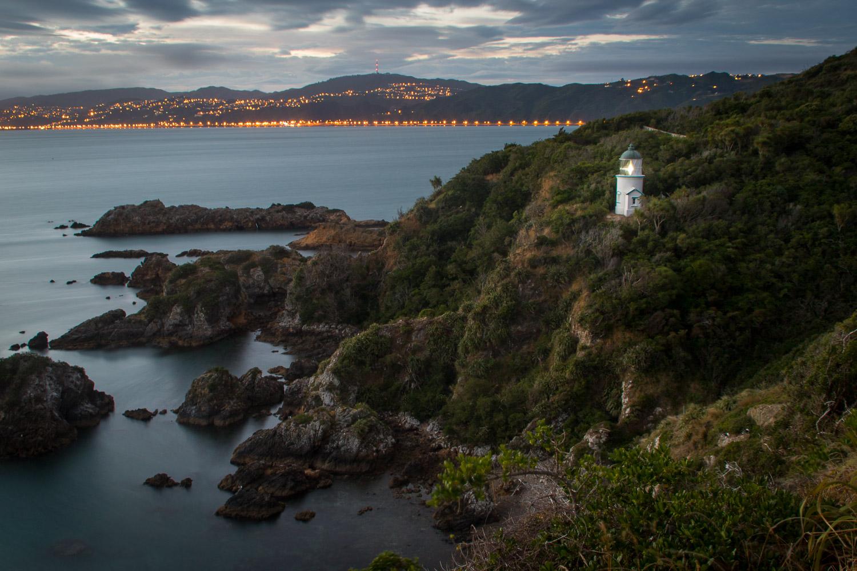 Matiu Somes Island Lighthouse at night