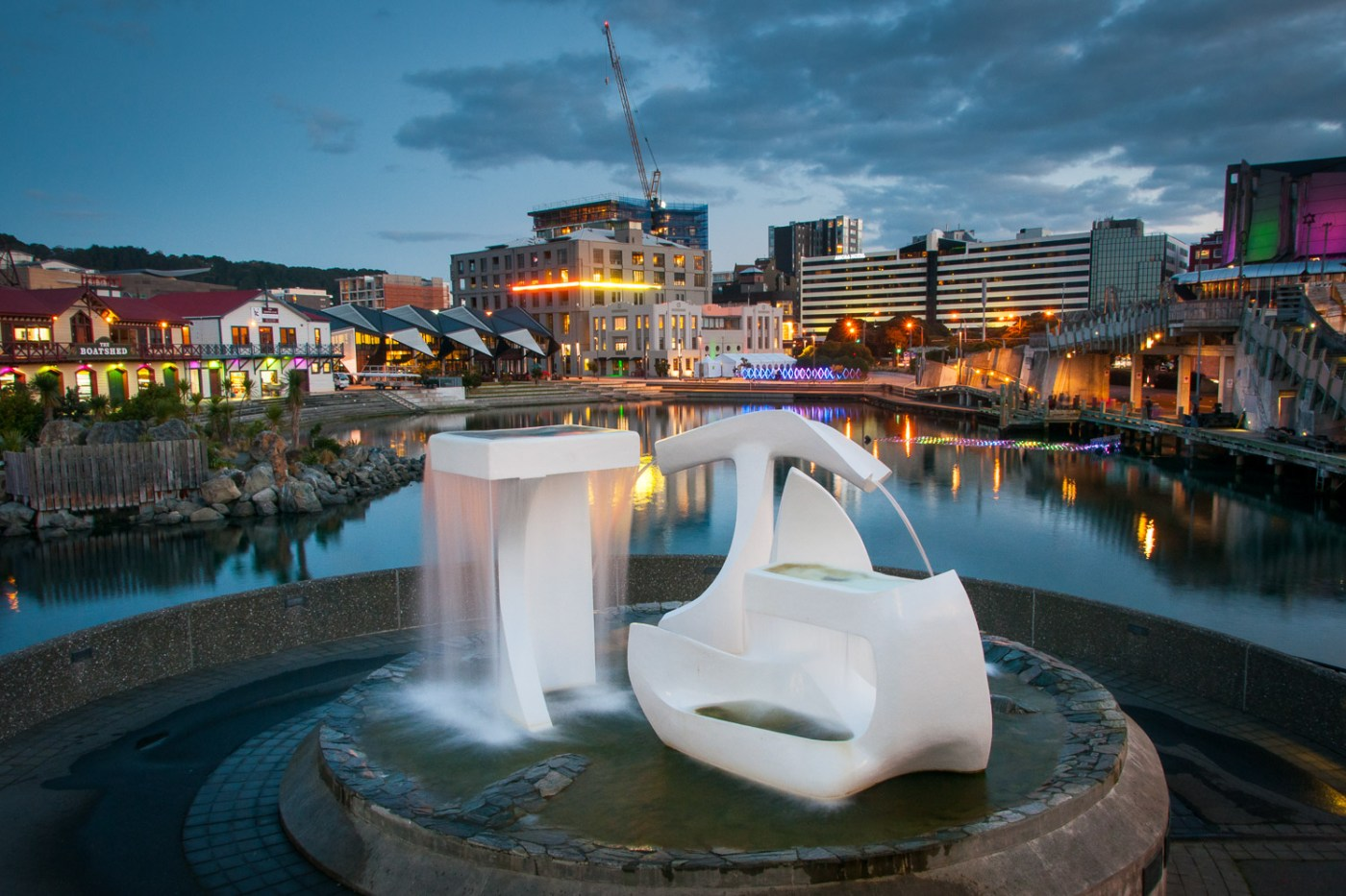 Albatross Sculpture at night, Wellington