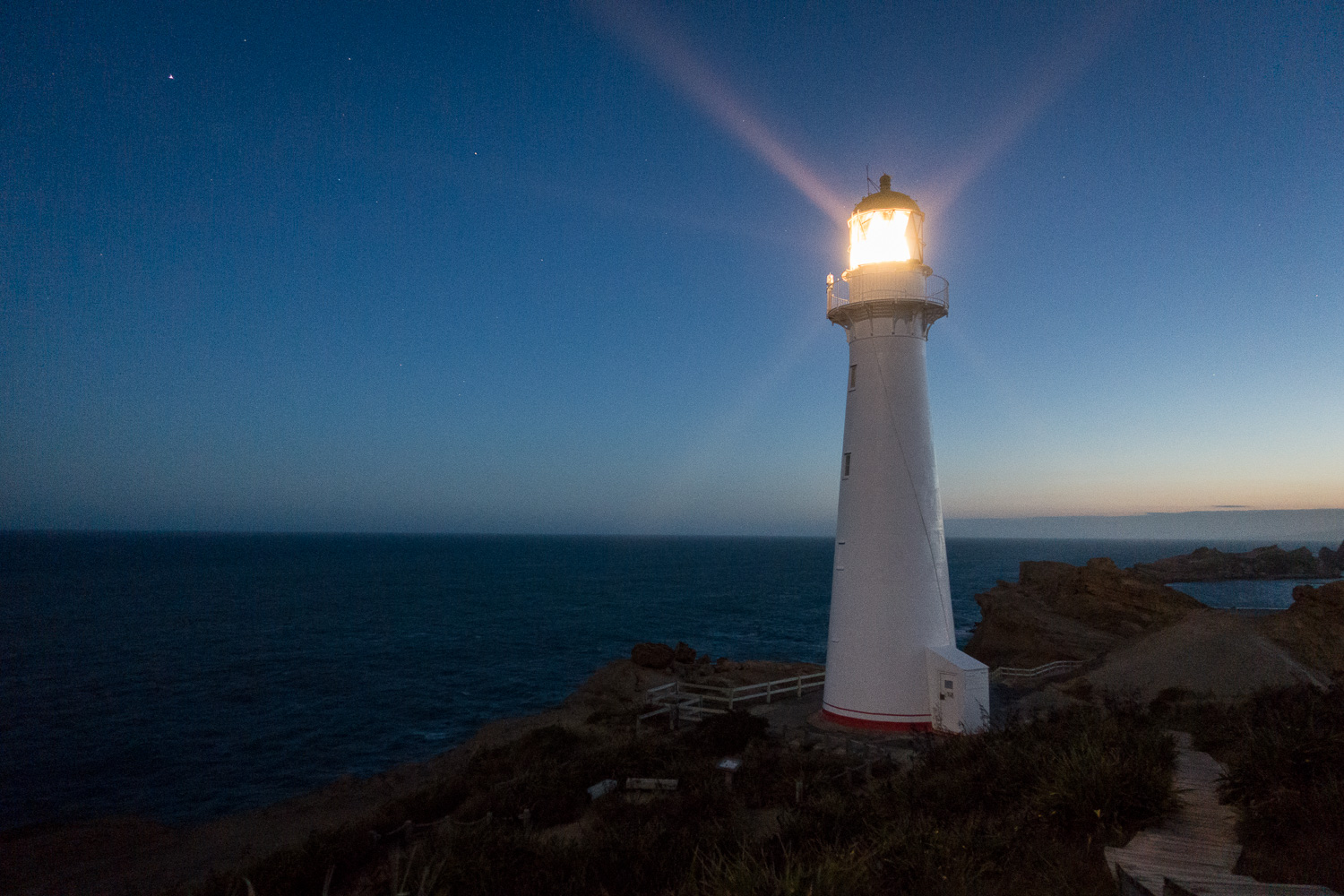 Castlepoint light house at night