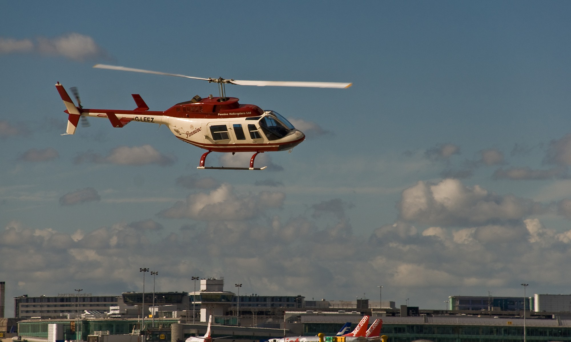 Bell Longranger Helicopter at Manchester Airport