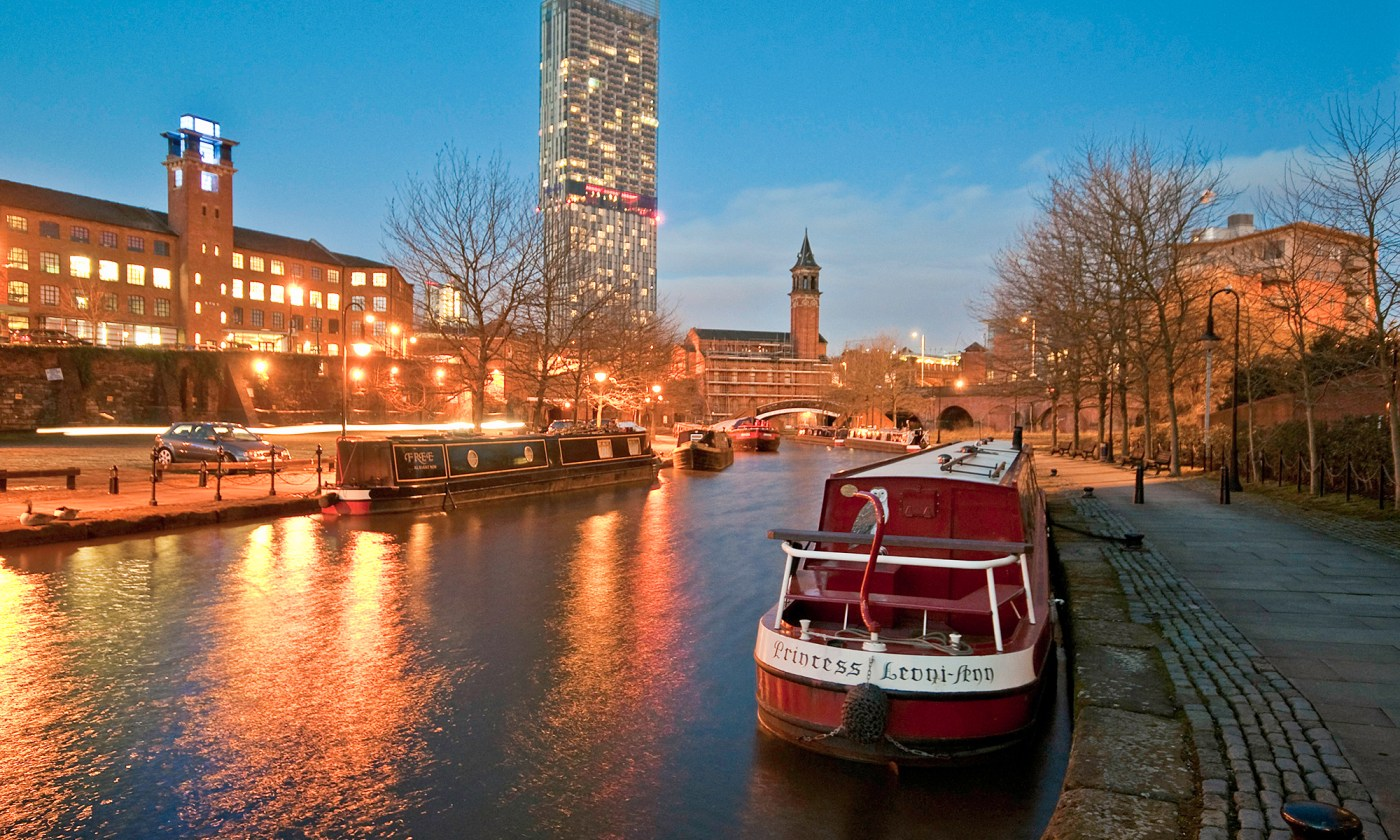 Canal Barge in Castlefield at Dusk