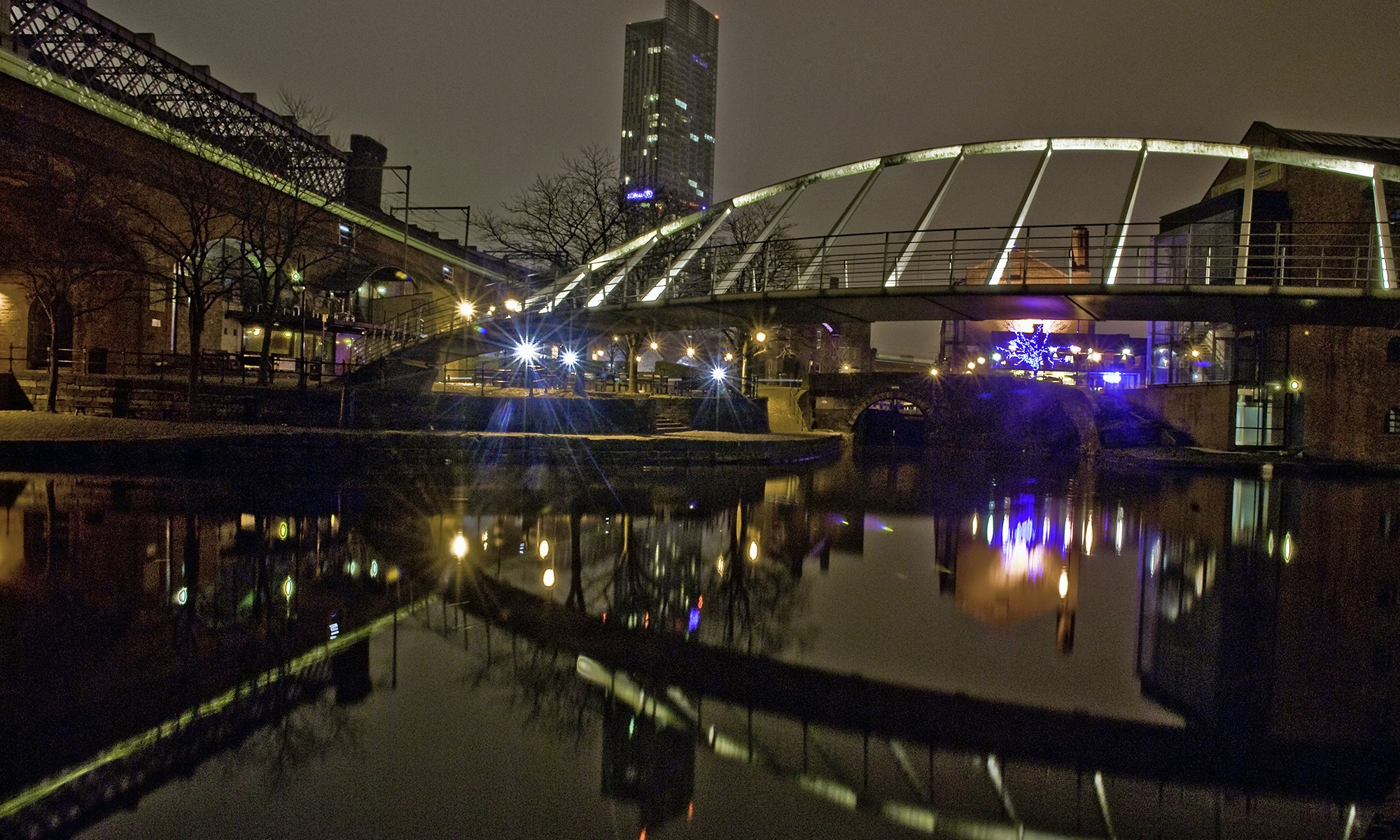 Castlefield's Millennium Bridge at Night