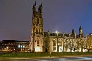 Cathedral Apartments at Night, Manchester