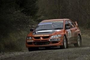 Red Subaru Impreza at Malcolm Wilson Rally