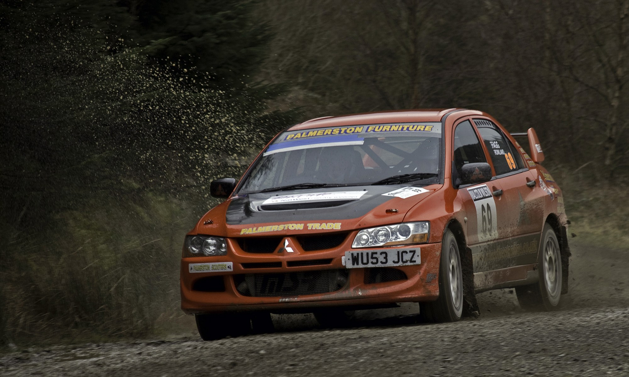 Red Subaru Impreza at Malcolm Wilson Rally