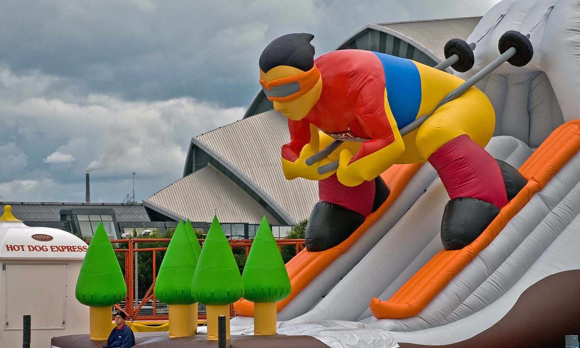 Inflatable Skier Slide outside Glasgow Science Centre