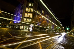 Light Trails in front of Kendals