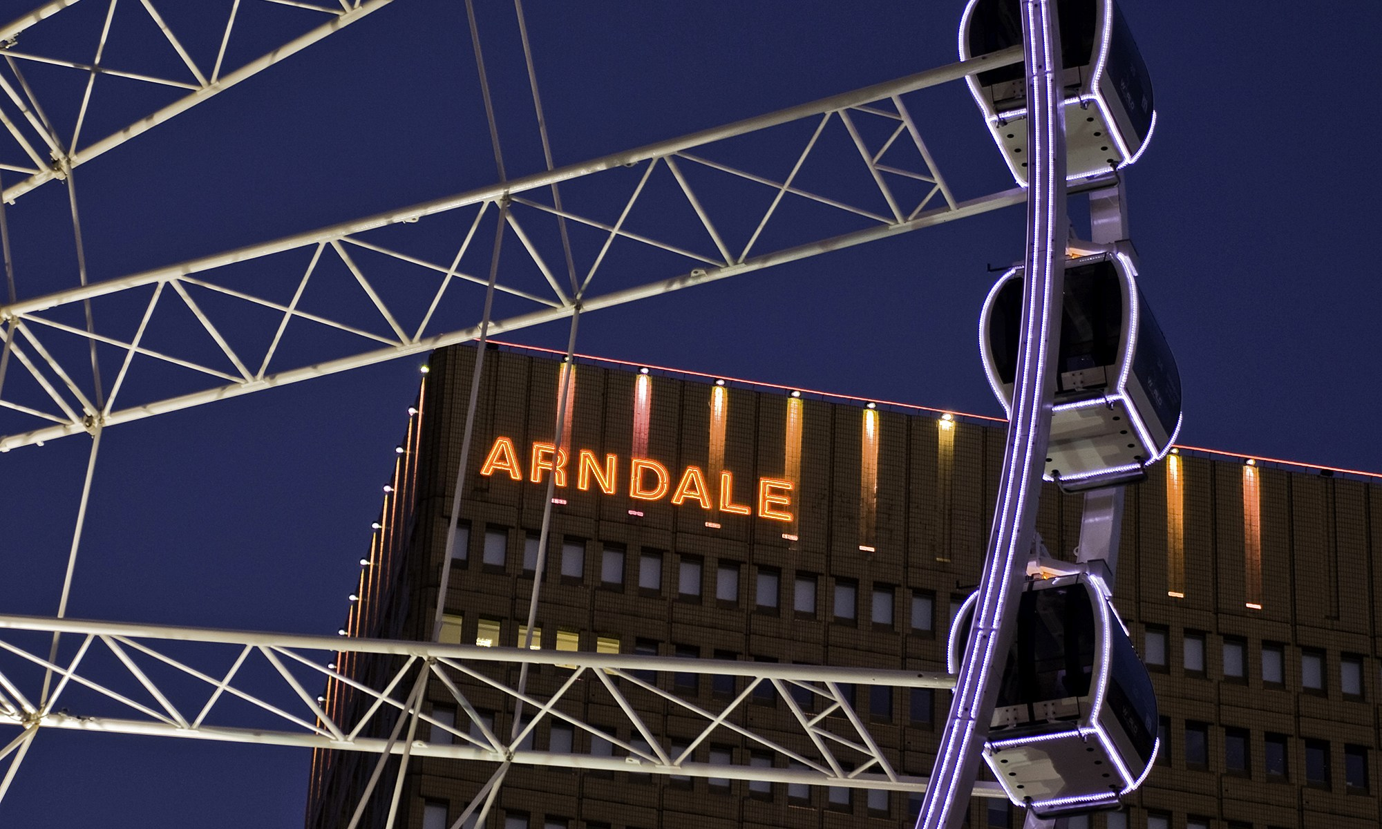 Manchester's Arndale and Wheel at Night