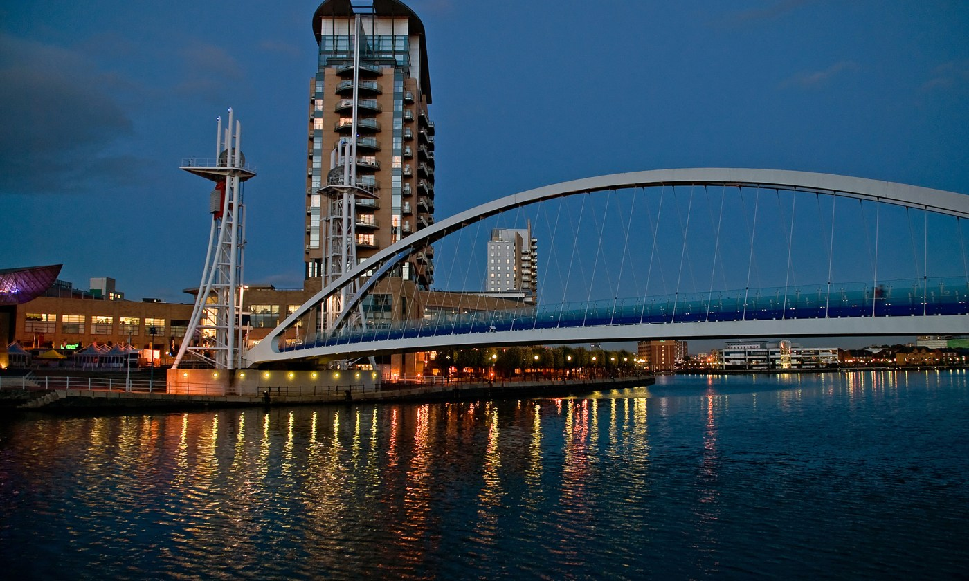 Millennium Bridge at Night, Salford Quays