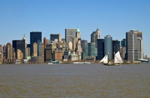New York Skyline with Sailing Boat