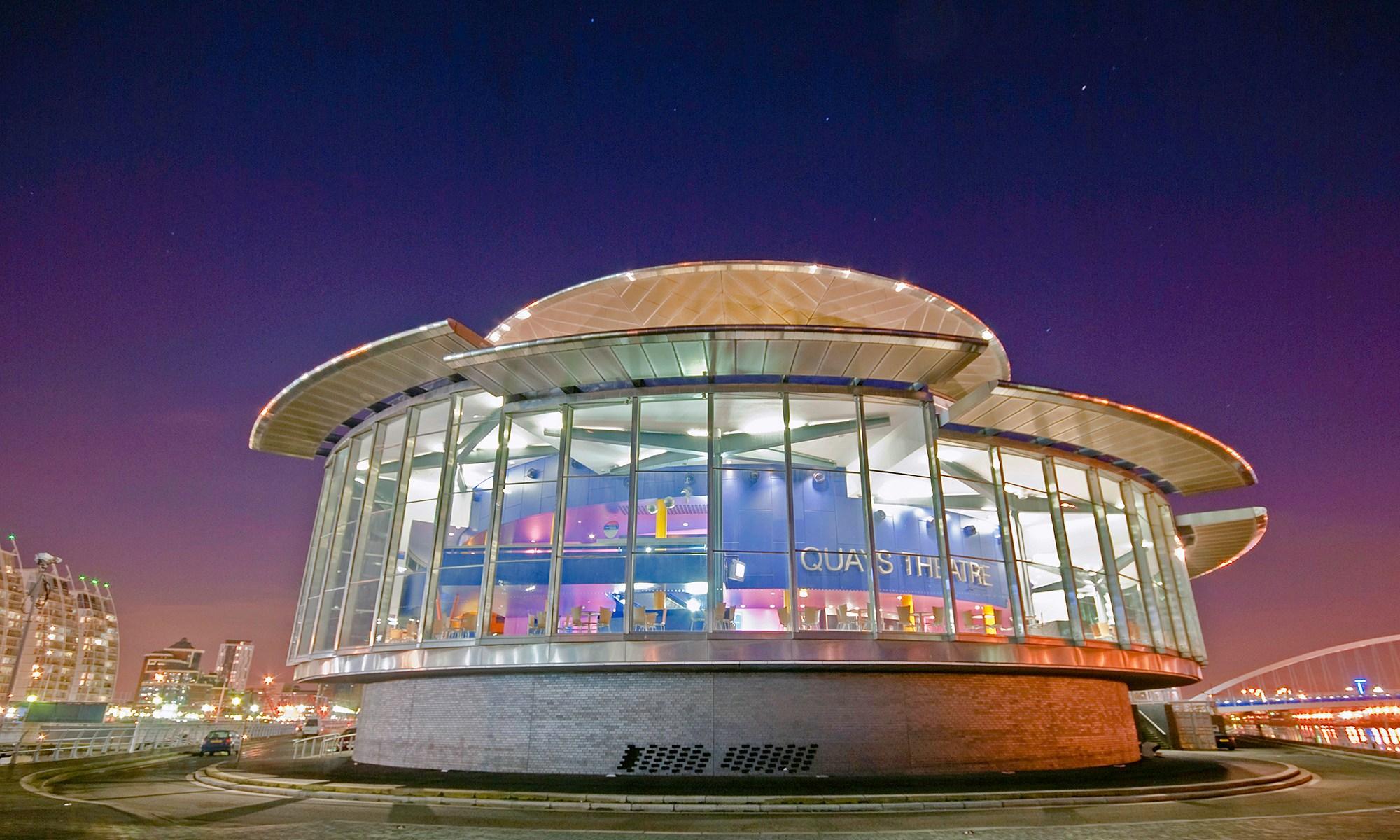 Quays Theatre at Night, Salford Quays