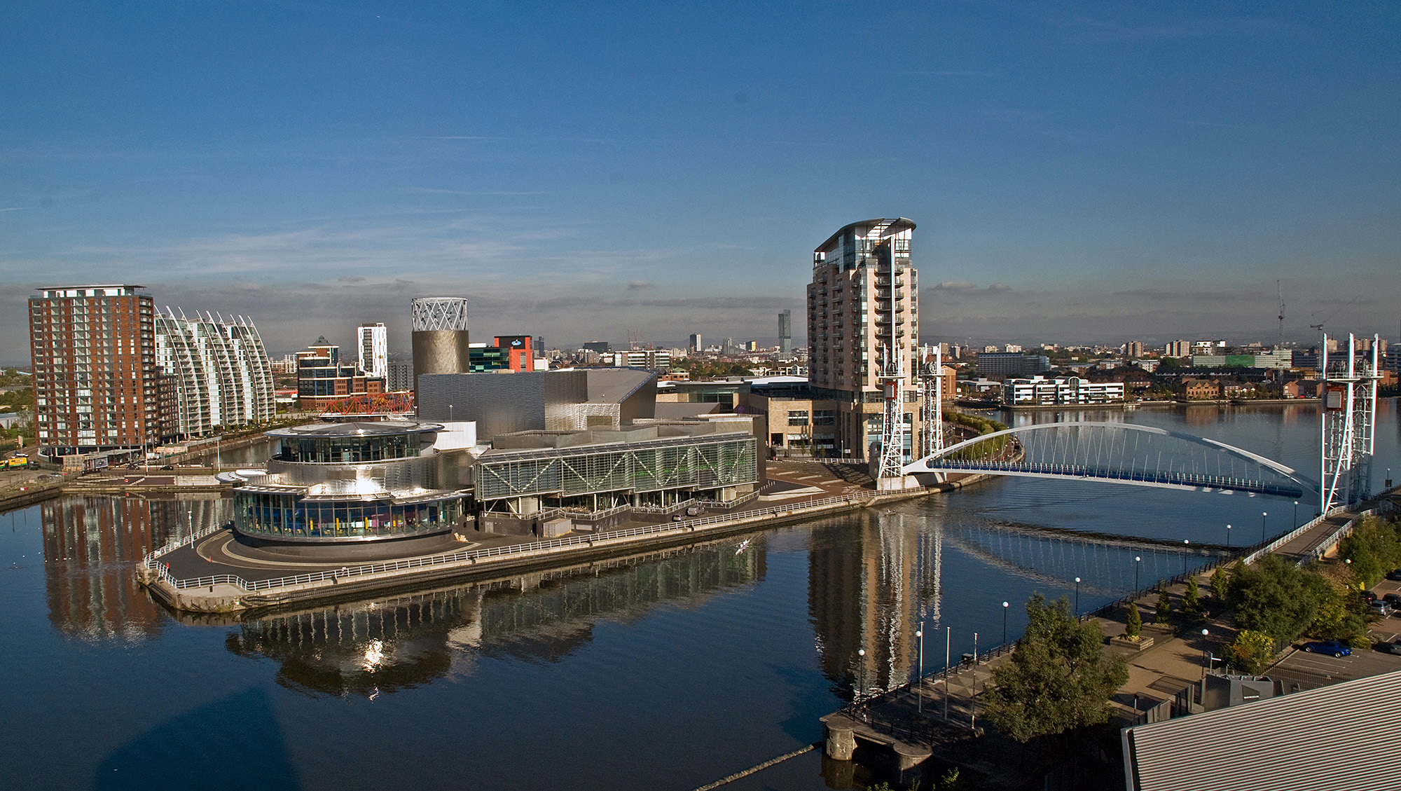 Looking down on Salford Quays