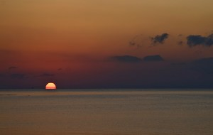 Sunrise on the horizon, Mediterranean Sea