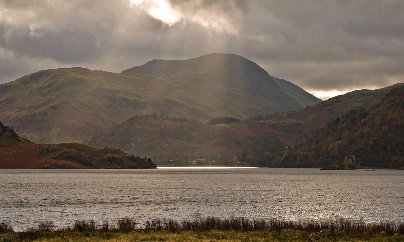 Rays of sunlight on Ullswater, Lake District