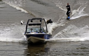 Wake Boarder on the River Dee