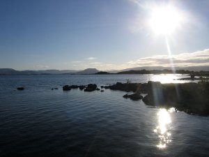 Sun over Lough Mask, County Mayo, Ireland