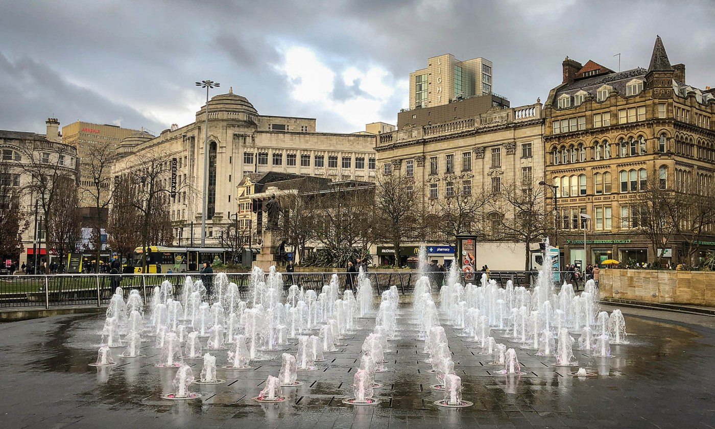 Fountains in Piccadilly Gardens
