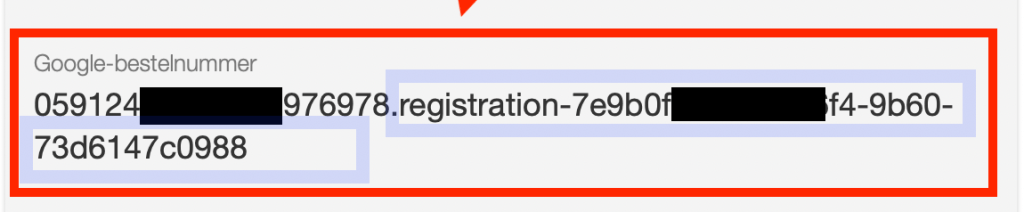 The good part of the transaction ID that you need to copy in blue