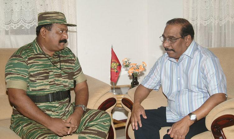 Mr. Pirapaharan meets Mr. Anton Balasingham in Vanni in January 2005