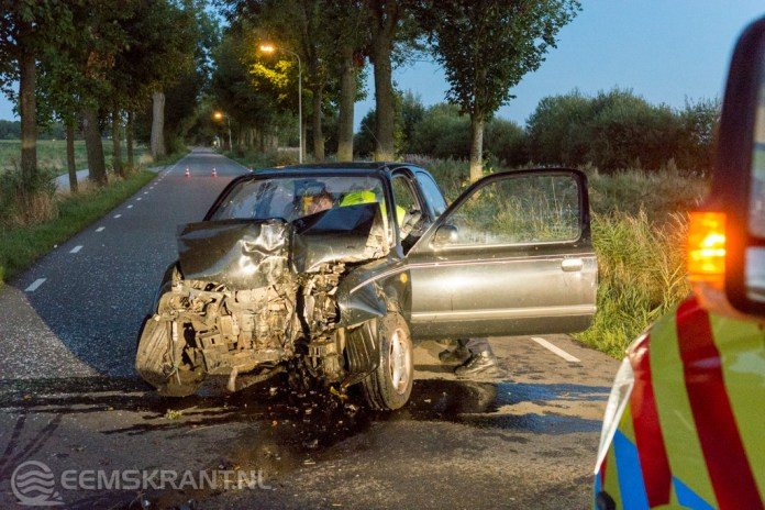 Automobiliste gewond na botsing met boom op de Damsterweg bij Steendam