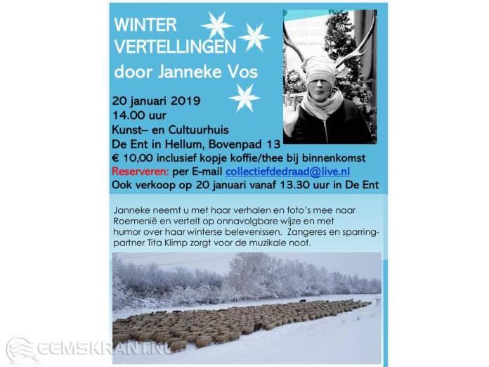Wintervertellingen door Janneke Vos in Kunst- en Cultuurhuis De Ent
