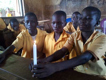 A practical science class in Choggu Primary A