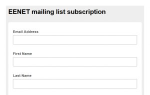 screenshot of EENET's email sign up form