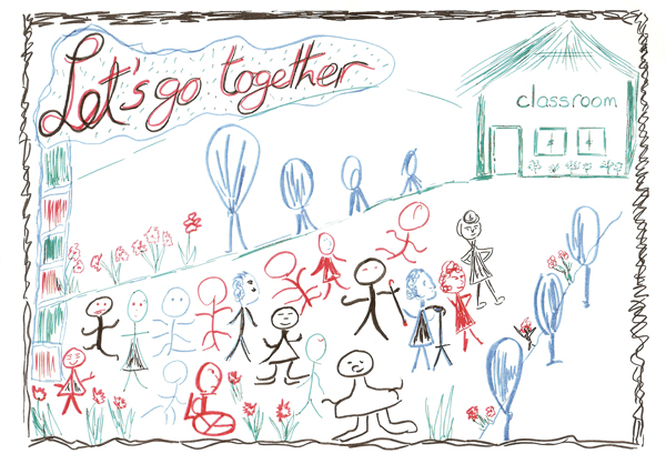 Drawing showing inclusive education (EENET photo library)