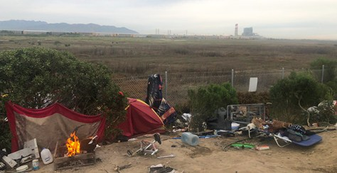 A homeless camp in Oxnard, Calif. Photo credit: Adam Aton/E&E News