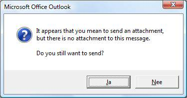 Microsoft Outlook attachment reminder popup