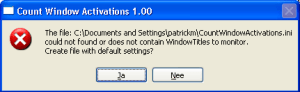 CountWindowActivations create ini file popup