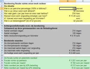 Fiscale ruimte woon werkverkeer (screenshot)