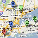 BatchGeo adresgegevens weergegeven op een Google Maps kaart