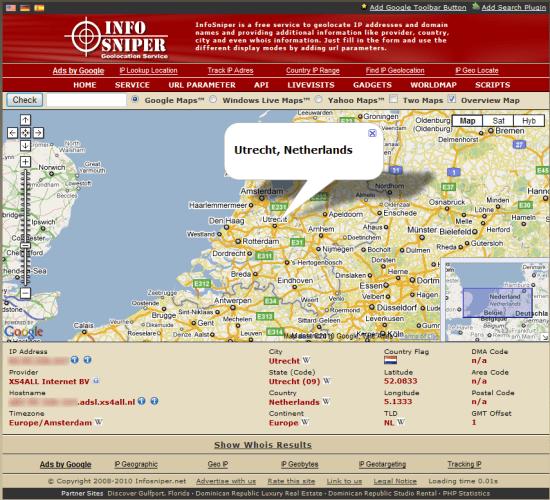 Info Sniper provider (en locatie) via IP adres achterhalen