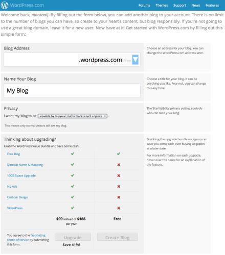 WordPress.com blog aanmaken
