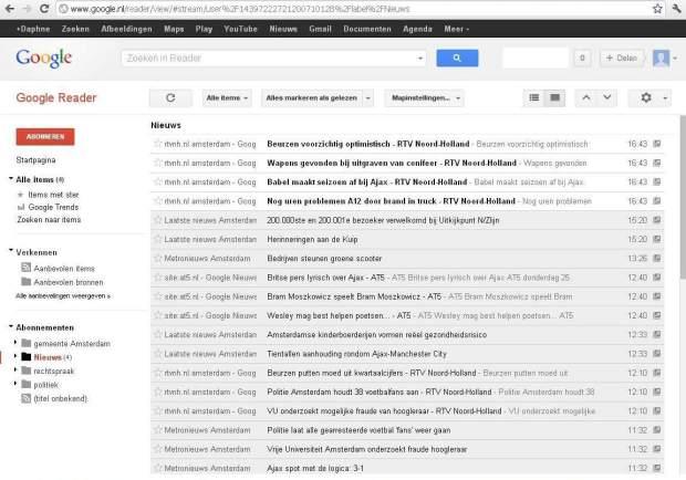 Google Reader screendump Amsterdam redactie
